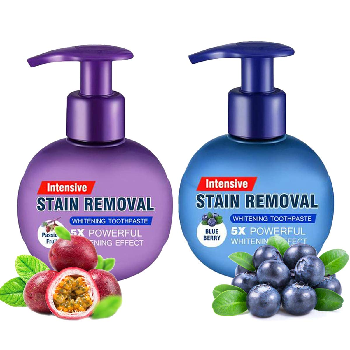 Baking Soda Whitening Toothpaste,Intensive Stain Removal Whitening Toothpaste Strengthening Toothpastes Strong Cleaning Power Natural Stain Remover Fluoride-Free Toothpaste(Blueberry+Passion Fruit)