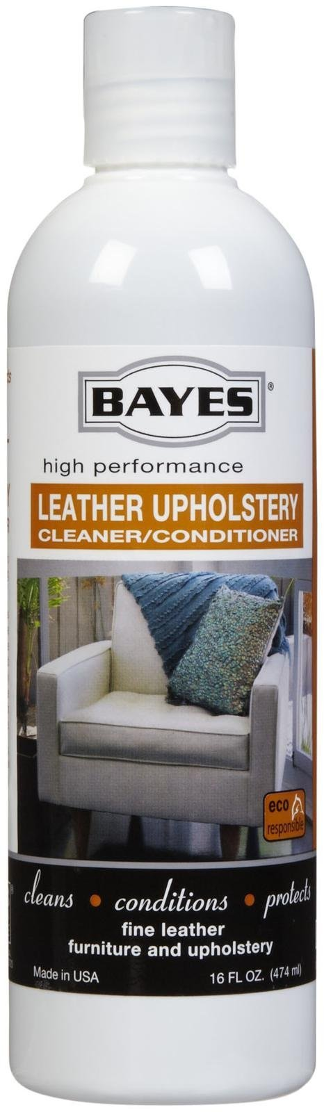 Bayes Premium High Performance Non Toxic Leather Upholstery Cleaner and Conditioner - 16 Ounce - Prevents Drying, Cracking or Fading of Leather Couches, Car Seats, Shoes, and Purses