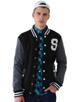 uxcell Men's Button Front Baseball School Lettermans Varsity Bomber Jacket