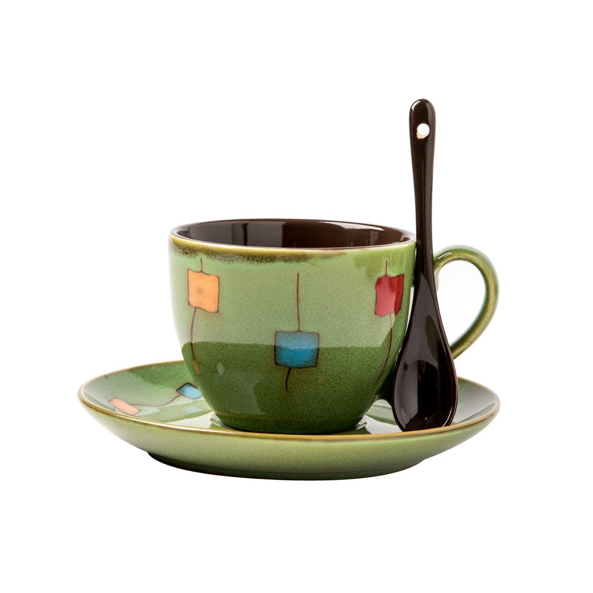 Verdental Drum Shaped Ceramic Mini Coffee Mugs with Spoon and Saucer (250ML Green)