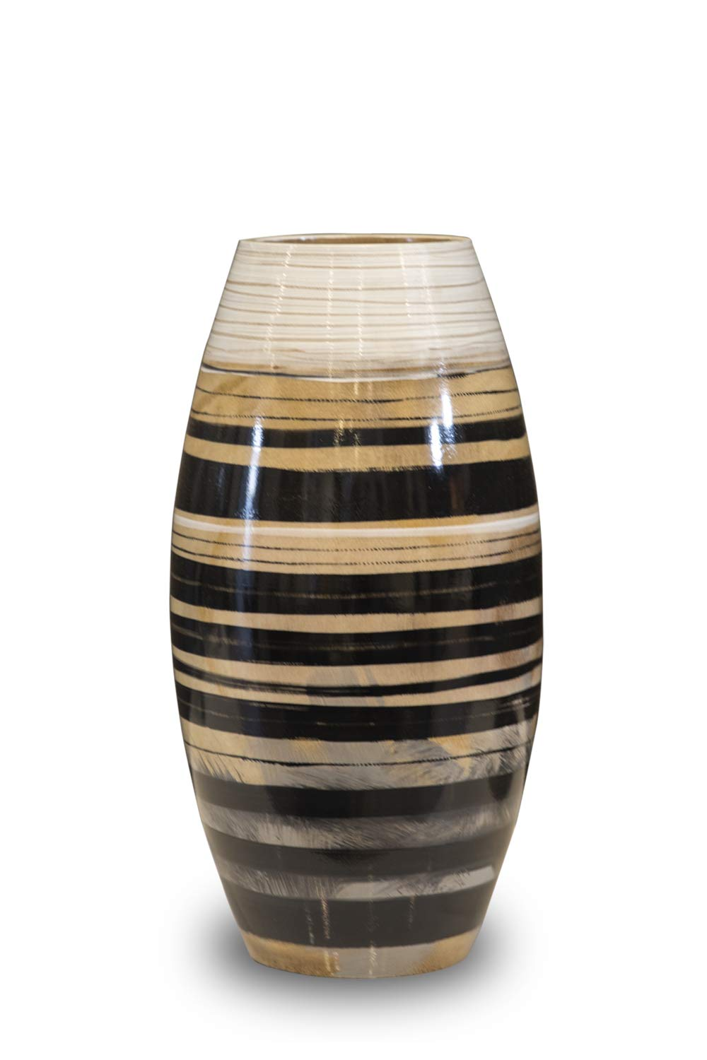 H HOMEPAINT Handmade Wooden Vase Natural & Eco-Friendly Wood Decoration for Home Office 7.5 x 13.8 Inch Gift