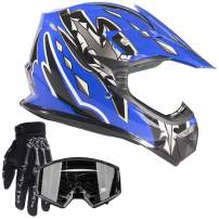 Typhoon Youth Kids Offroad Gear Combo Helmet Gloves Goggles DOT Motocross ATV Dirt Bike MX Motorcycle Blue Black, Small