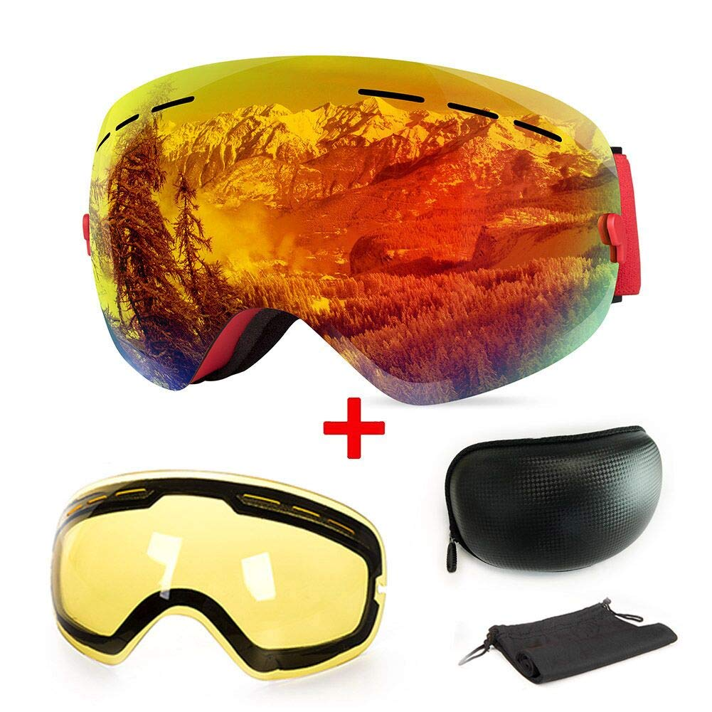 Extra Mile 【2020New】 Ski Goggles, Anti-Fog UV Protection Winter Snow Sports Snowboard Goggles with Interchangeable Spherical Dual Lens for Men Women & Youth Snowmobile Skiing Skating