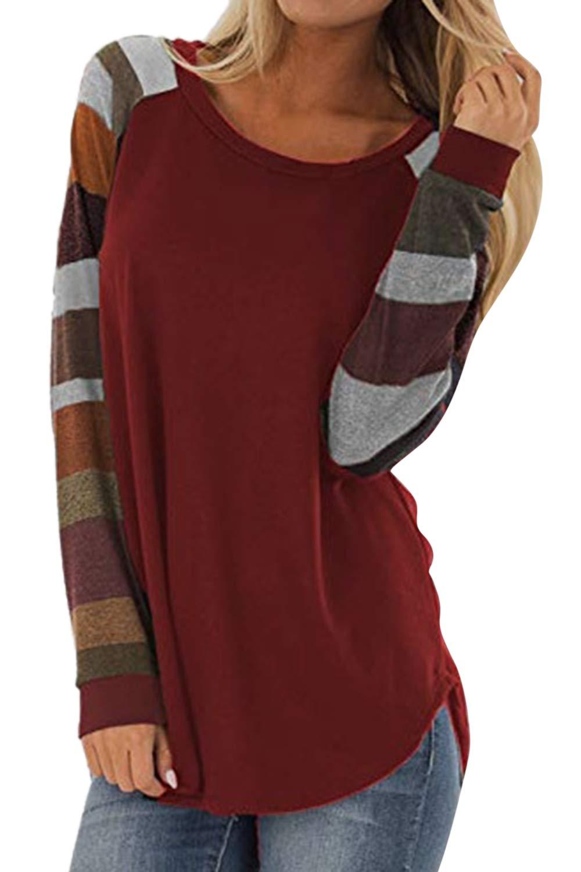 Cutiefox Womens Casual Color Block Long Sleeve Pullover Tops Tunics Shirts Blouse S-XXL