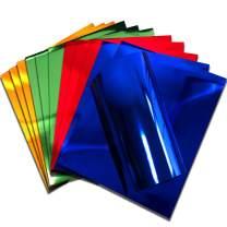 "Stretchy Metallic HTV Foil Stretch Foil Iron on Heat Transfer Vinyl for Cricut,T-Shirt 12"" X 9.8"" (Pack of 12) (Blue, Green, Red, Orange)"