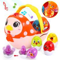 VATOS Baby Easter Egg Toy, Toddler Easter Basket for 1 2 3 4 5 Year Old Boys & Girls   Musical Easter Eggs with Colorful Changing Lights  Musical Easter Eggs for Babies