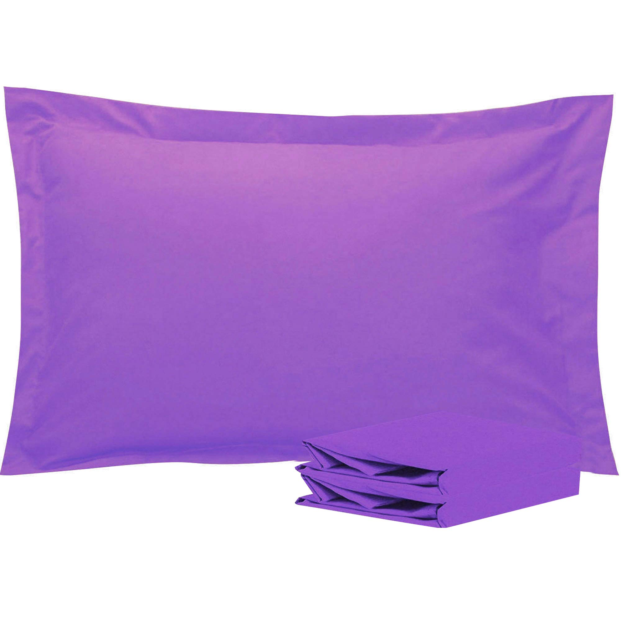 NTBAY Queen Pillow Shams, Set of 2, 100% Brushed Microfiber, Soft and Cozy, Wrinkle, Fade, Stain Resistant (Purple, Queen)