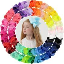 "30pcs Big 6"" Hair Bows Clips Solid Color Grosgrain Ribbon Larger Hair Bows Alligator Clips Hair Accessories for Baby Girls Infants Toddlers Kids Teens (30Colors/30Pcs)"