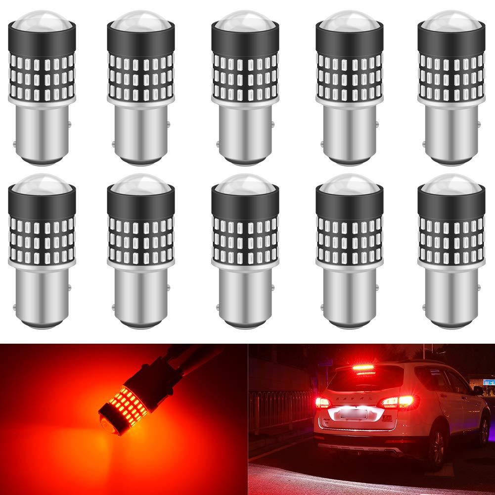 KATUR 1157 BAY15D 1016 1034 7528 Led Light Bulb Super Bright 900 Lumens High Power 3014 78SMD Lens LED Bulbs for Brake Turn Signal Tail Backup Reverse Brake Light Lamp,Brilliant Red(Pack of 10)