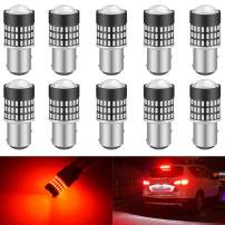 KATUR 1157 BAY15D 1016 1034 7528 Led Light Bulb Super Bright 900 Lumens High Power 3014 78SMD Lens LED Bulbs for Brake Turn Signal Tail Backup Reverse Brake Light Lamp,Brilliant Red(Pack of 10)