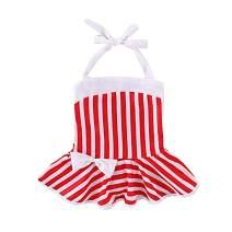 Honykids Baby Girl Swimsuits July 4th Stripe Dress One Piece Beach Swimwear Bathing Suit