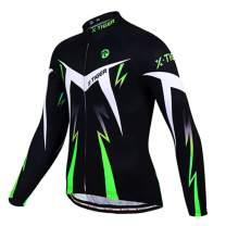 X-TIGER Cycling Bike Jersey Men,Bicycle MTB Shirts Long Sleeve with 3 Rear Pockets