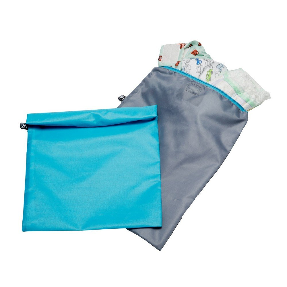 J.L. Childress Wet-to-Go Portable Wet and Dry Bags, Waterproof and Leakproof, Machine-Washable, Reusable for Cloth Diapers, Wet Clothes, Swimsuits, and More. 2 Pack, Teal/Grey