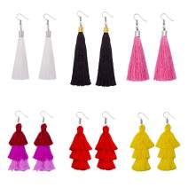 Colorful Layered Tassel Earrings for Women Long Statement Tassel Thread Ball Dangle Earrings Hoop Fringe Bohemian Tiered Design 4-6 Pairs
