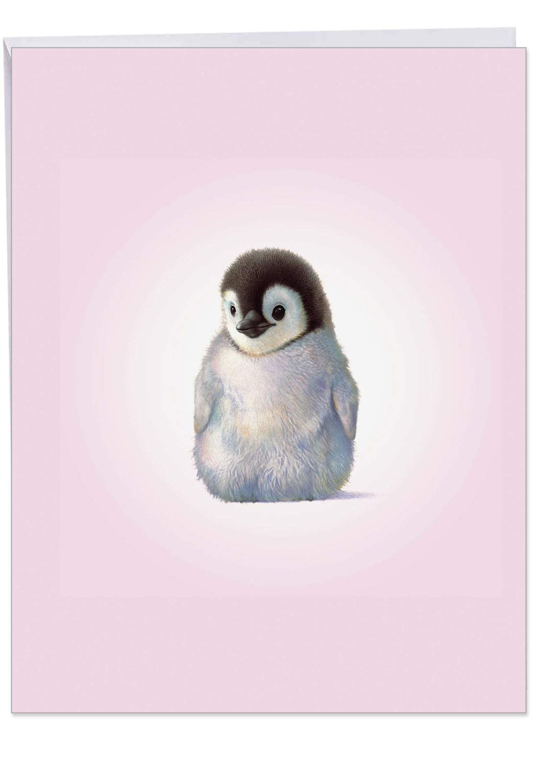 Birthday Card 'Zoo Babies-Penguin Birthday' with Envelope 8.5 x 11 Inch - Adorable Baby Penguin Greeting You A Happy Birthday - Zoo and Circus Animal Stationery Greeting Notecard J6726BBDG