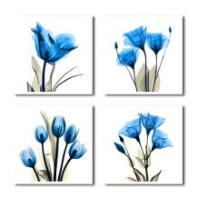 HLJ ART 4 Panel Elegant Tulip Purple Flower Canvas Print Wall Art Painting for Living Room Decor and Modern Home Decorations Photo Prints 12x12inch (Blue-A)