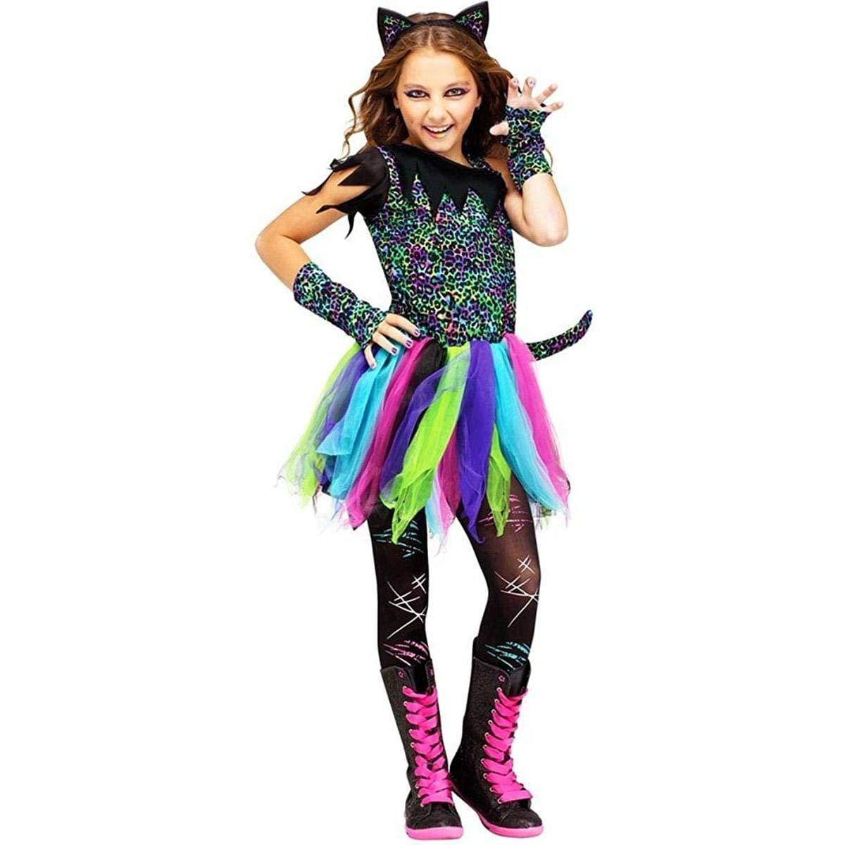 Fun World Wild Rainbow Cat Costume, Medium 8 - 10, Multicolor