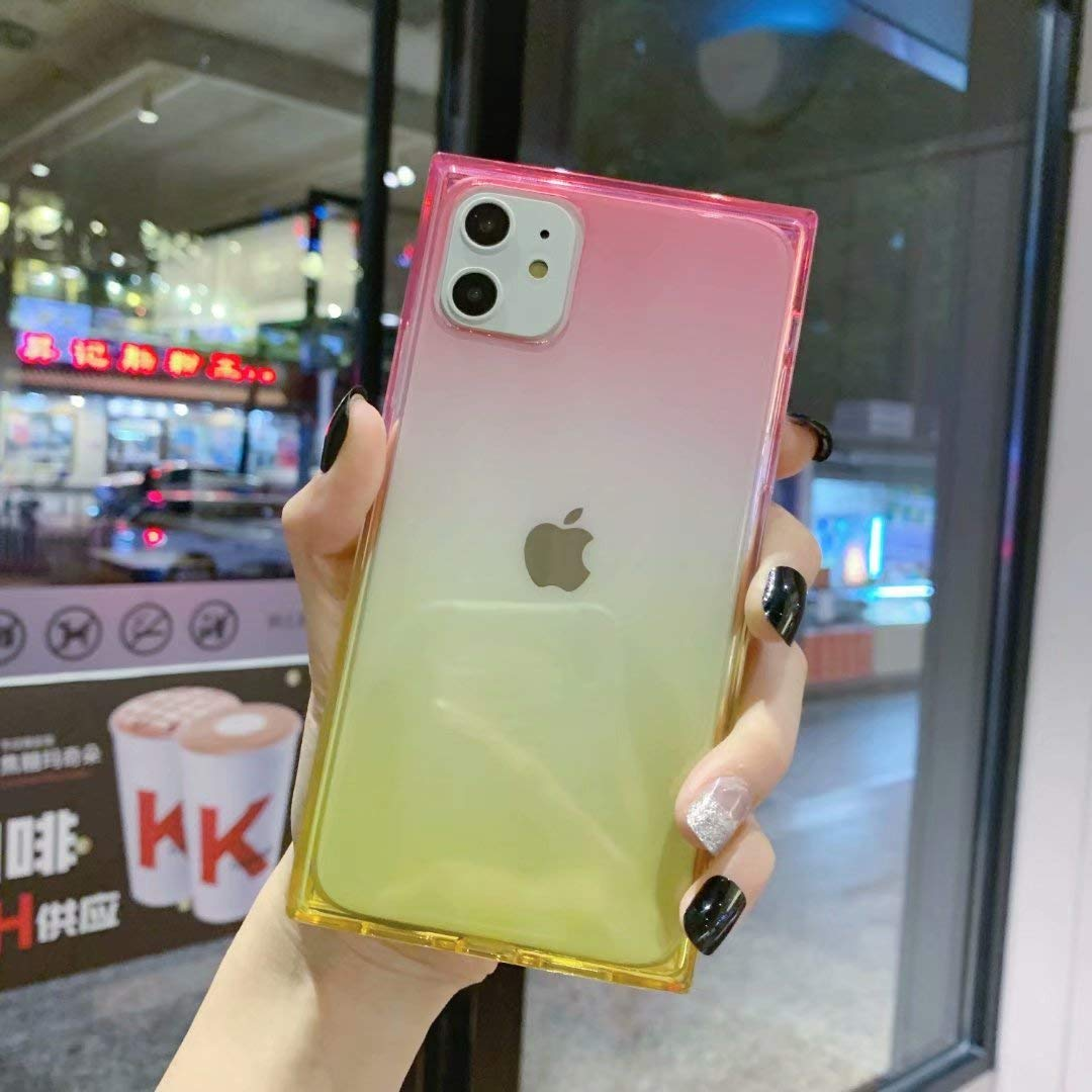 iPhone 11 Case for Girls,Tzomsze Clear Square Case Cute Gradient Slim Silicone Transparent Reinforced Corners TPU Cushion Cover Case for iPhone 11 2019 [6.1 inch]-Pink Yellow