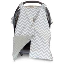 2 in 1 Carseat Canopy and Nursing Cover Up with Peekaboo Opening   Large Infant Car Seat Canopy for Girl or Boy   Best Baby Shower Gift for Breastfeeding Moms   Chevron Pattern with Grey Minky