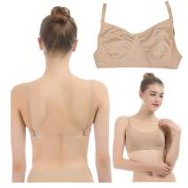 iMucci Professional Beige Clear Back Bra NO Sponge - Seamless Backless Freebra with Adjustable Clear Straps for Ballet Dance Party