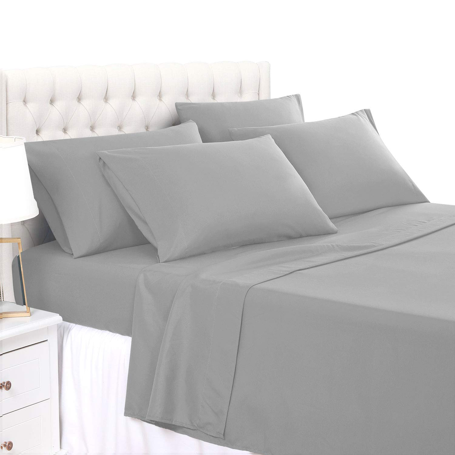 BASIC CHOICE 6 Piece Sheet Set - Soft 2000 Series Wrinkle & Fade Resistant Bed Sheets - Queen, Charcoal