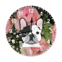 Cartoon Dog French Bulldog with Flower Decorative Wall Clock Silent Non Ticking 10 Inches Quality Quartz Battery Operated Round for Home Office Classroom School