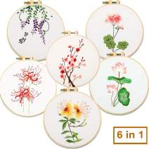 Akacraft DIY Embroidery Starter Kit, Cotton Fibric with Stamped Pattern, 6 inch Plastic Embroidery Hoop, Color Threads, and Needles, Chinese Traditional Flowers Series-6 in 1