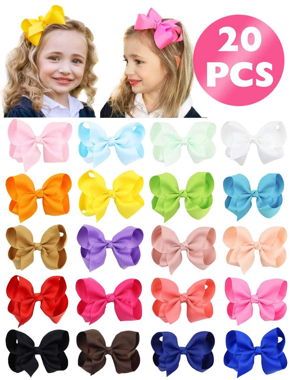 """HLIN 20 Pcs 4.5"""" Grosgrain Ribbon Boutique Christmas Hair Bows Alligator Clips Hand Made for Baby Girls Toddlers Kids"""