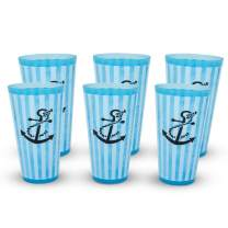 eXpace 32 oz Plastic Tumblers Stadium Cups, Anchor on Light Blue, 6 Pack