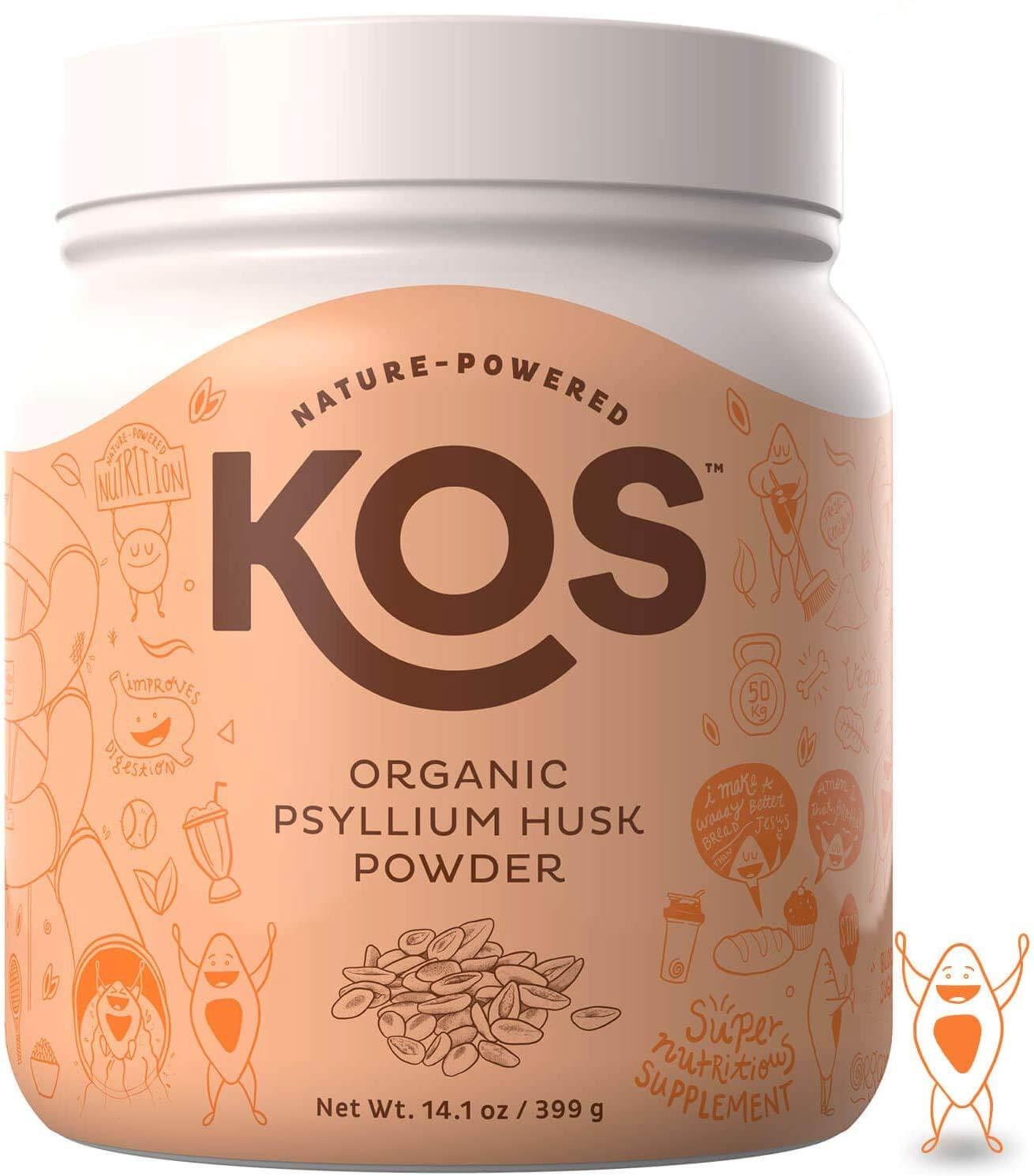 KOS Organic Psyllium Husk Powder - Everyday Fiber Support Psyllium Husk Powder - Finely Ground for Easy Mixing & Baking (Keto Bread) USDA Organic Plant Based Ingredient, 399g, 105 Servings