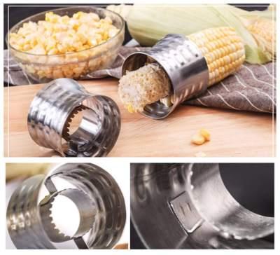 Corn Cob Cutter Non-Slip Grip Design Corn Stripping Tool Stainless Steel Corn Stripper
