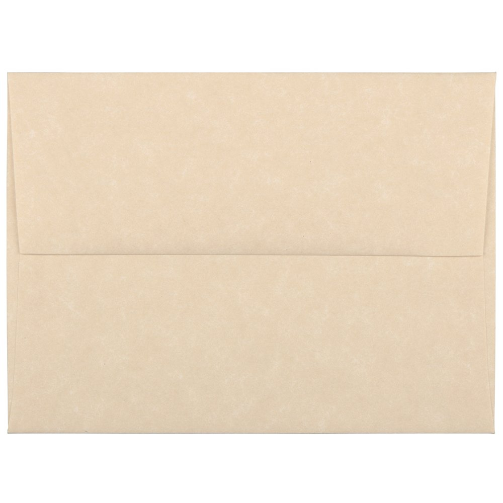 JAM PAPER A2 Parchment Invitation Envelopes - 4 3/8 x 5 3/4 - Brown Recycled - 50/Pack