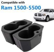 JoyTutus Car Door Cup Holder Compatible with 2009-2019 Dodge Ram 1500-5500, Left + Right Foam Car Cup Holder Compatible with Dodge Ram, Replacement for 5NN24XXXAA/1LD23XXXAA, 2PCS