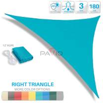 Patio Paradise 14' x 26' x 30' Turquoise Sun Shade Sail Right Triangle Canopy, Permeable UV Block Fabric Durable Outdoor, Customized Available