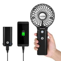 Small Portable Fans, NACATIN Handheld Personal Fan with 5200mAh Rechargable Power Bank,3 Wind Speed, 5-20 Hours, Foldable and Compact Detachable USB Desk Fan, Black