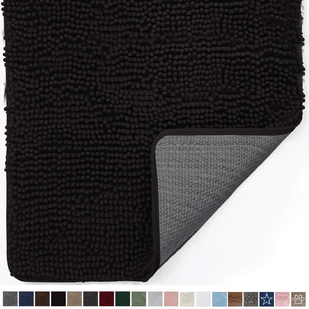Gorilla Grip Original Indoor Durable Chenille Doormat, 30x20, Absorbent, Machine Washable Inside Mats, Low-Profile Rug Doormats for Entry, Mud Room, Back Door, High Traffic Areas, Black