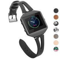 YiJYi Leather Bands Compatible with Fitbit Blaze,Slim Band with Metal Frame Replacement Sport Strap Wristband for Women Men