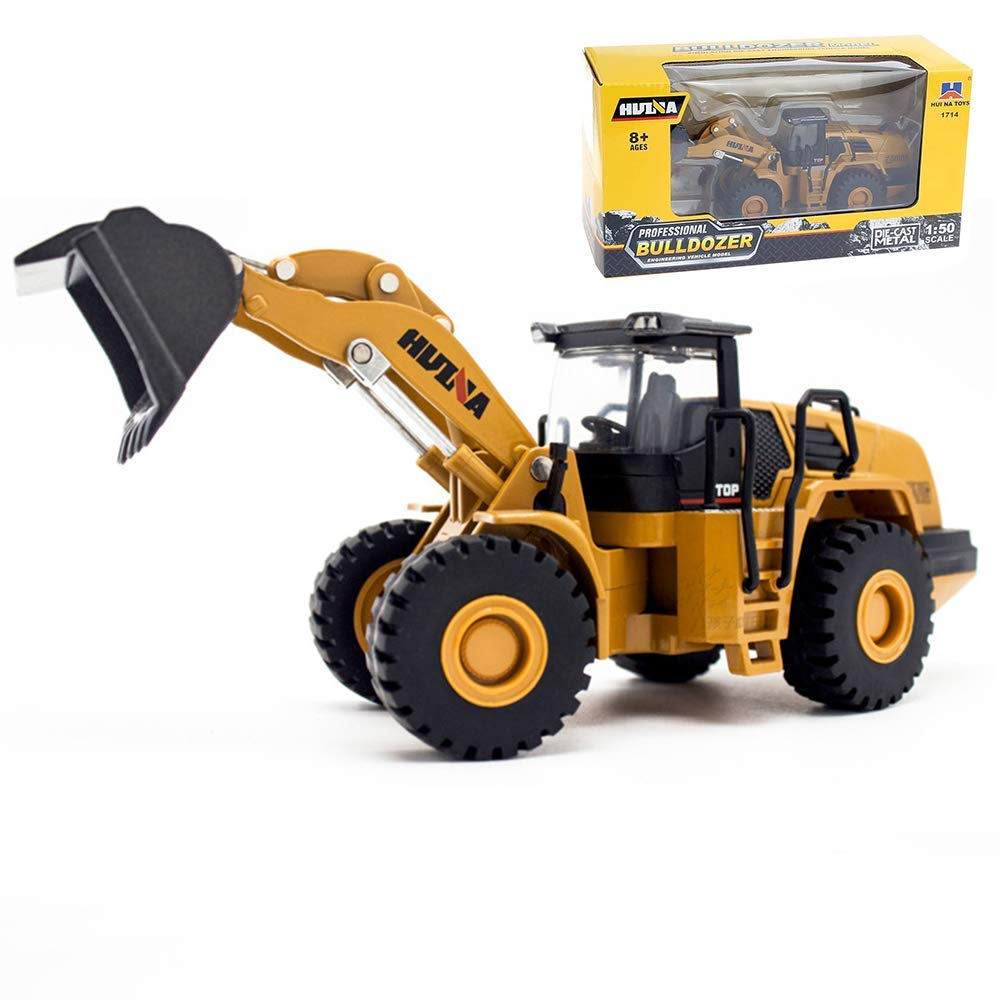 Gemini&Geniu 1/50 Scale Metal Die-cast Four Wheel Loader Truck Toy Metal Construction Equipment Bulldozer Models Engineering Vehicle Alloy Models Toys for Kids and Decoration House (Mechanical Loader)