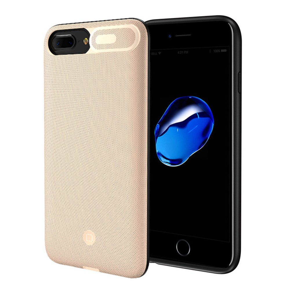 iPhone 6 plus/6s Plus/8 Plus/7 Plus Battery Case, Guojia 7500mAh Extended Slim Rechargeable External Battery Portable Power Charger Protective Charging Case (5.5 Inch)-High-Capacity-Gold