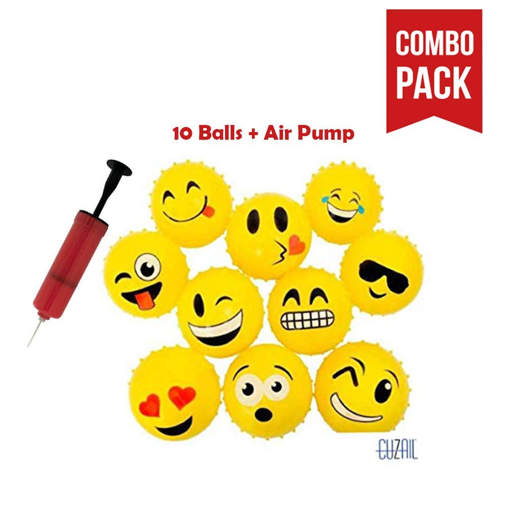 """CUZAIL Emoji Party Favors Party Supplies - Adults & Kids Knobby Balls - 5"""" Inflatable Balls with Air Pump - Indoor and Outdoor Fun - Bulk Pack 10 Balls with Pump - Party Supplies"""