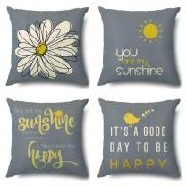 Artscope Cozy Throw Pillow Covers Cases, Pack of 4 Soft Velvet Sunshine with Happy Print Pattern Decorative Cushion Covers for Sofa Couch Bedroom Living Room Home Decor 18x18 Inch
