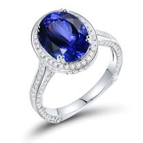 Lanmi 14K White Gold Natural Tanzanite Real Diamond Ring Engagement Wedding Band for Women