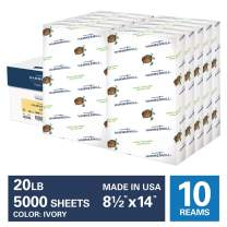 Hammermill Ivory Colored 20lb Copy Paper, 8.5x14, Legal Size, 10 Ream Case, 5,000 Sheets, Made in USA, Sustainably Sourced From American Family Tree Farms, Acid Free, Pastel Printer Paper, 103143C