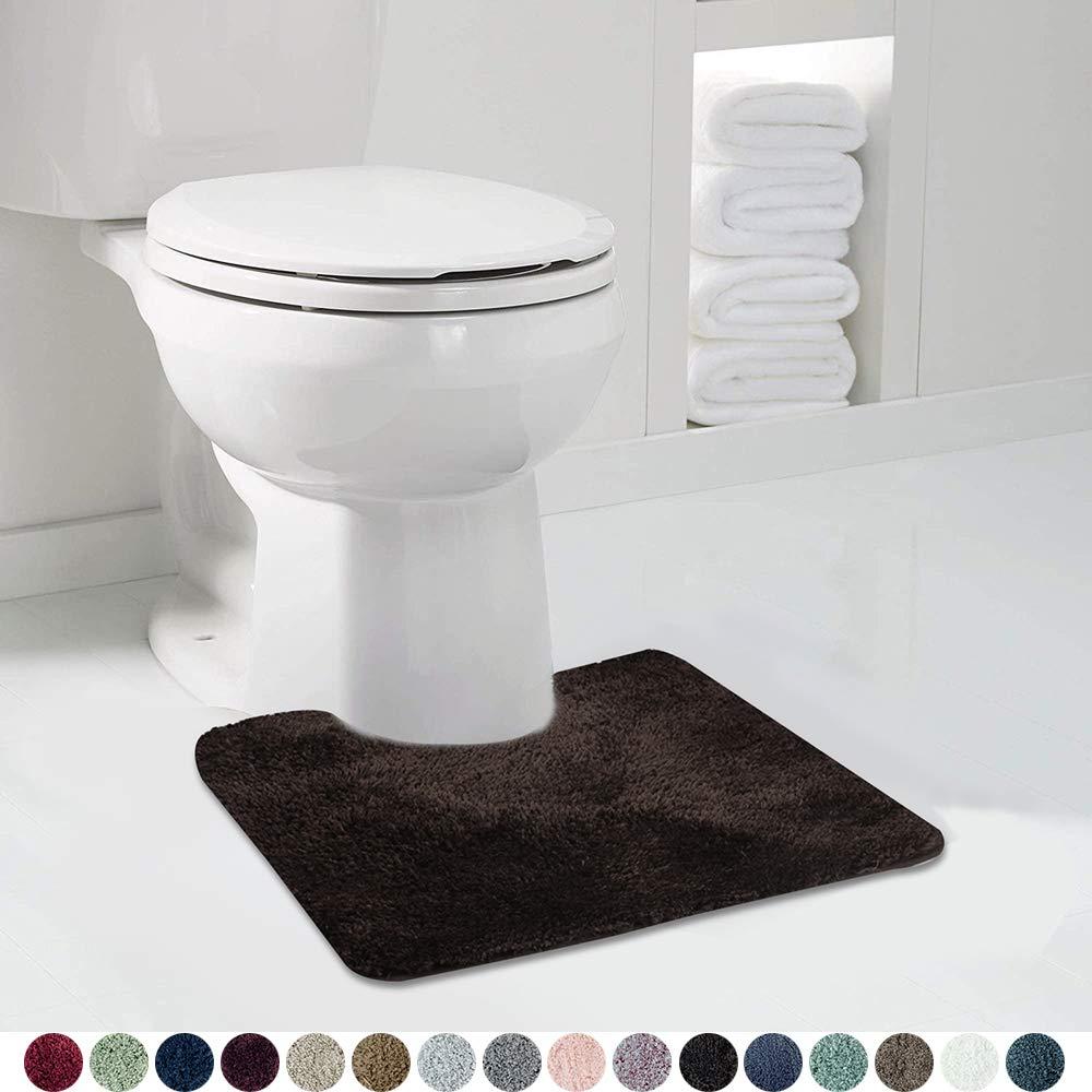 Walensee Bathroom Contour Rug (20x24, Brown Basket) Non Slip Bath Mat for Bathroom Water Absorbent Soft Microfiber Shaggy Bathroom Mat Machine Washable Bath Rug for Bathroom U Shape Toilet Rug