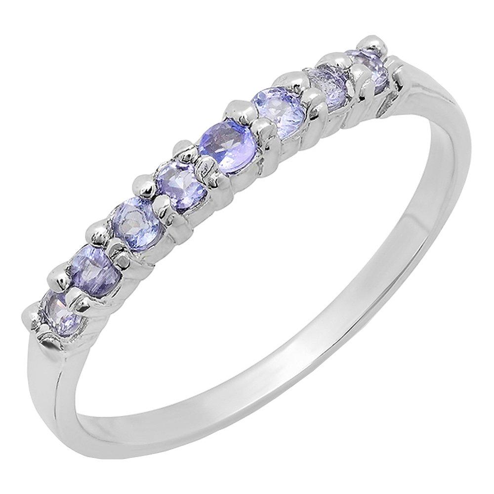 Dazzlingrock Collection Round Cut Tanzanite Ladies Wedding Band Anniversary Ring, Sterling Silver