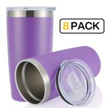 JEAREY 20oz Stainless Steel Tumbler with Lid Double Wall Vacuum Insulated Coffee Travel Mug(8 Pack, Purple)