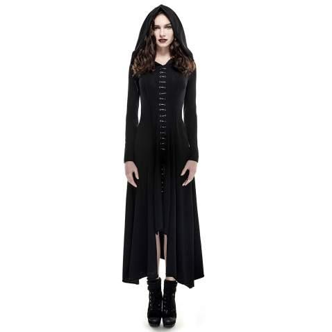 Punk Rave Women Gothic Vintage Long Sleeve Black Dresses Asymmetrical High Low Hoodie Dress Renaissance Costumes XS