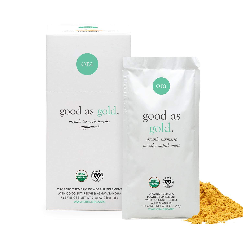 Ora Organic Golden Milk Powder - Ayurvedic Turmeric Powder with Organic Adaptogens - Ashwagandha, Reishi and Ginger | Organic, Gluten-Free, Soy-Free, Vegan, Non-GMO - Maple & Vanilla, 7 Servings