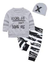 Baby Boys Clothes Letter Print Long Sleeve Hoodie Tops with Stripe Pants Outfits Set