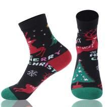 Cartoon Printed Christmas Socks, FOOTPLUS Crazy Animal Patterned Cotton Crew/Mid-Calf Casual Dress Gift Socks, S/M/L